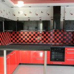 The angular red and black kitchen .Photo 14