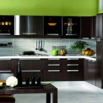 Design dark wenge kitchen with white worktop .Picture 4