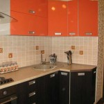 Cheap Orange kitchen with wenge .photo 10