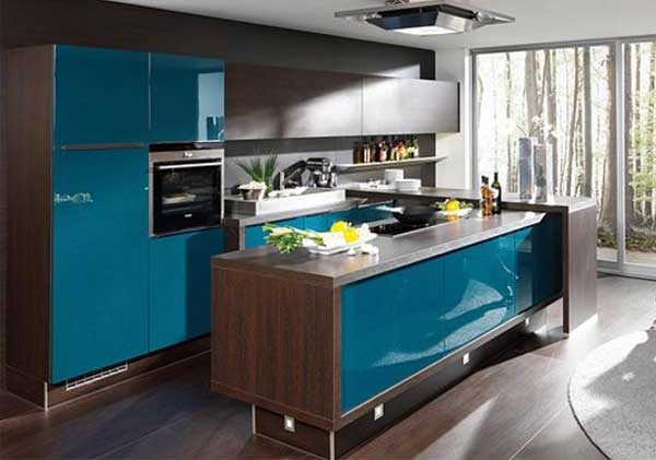 Kitchen Design wenge color and blue .Photo 23