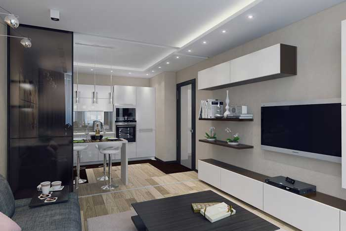 Design living room with kitchen .Photo 2
