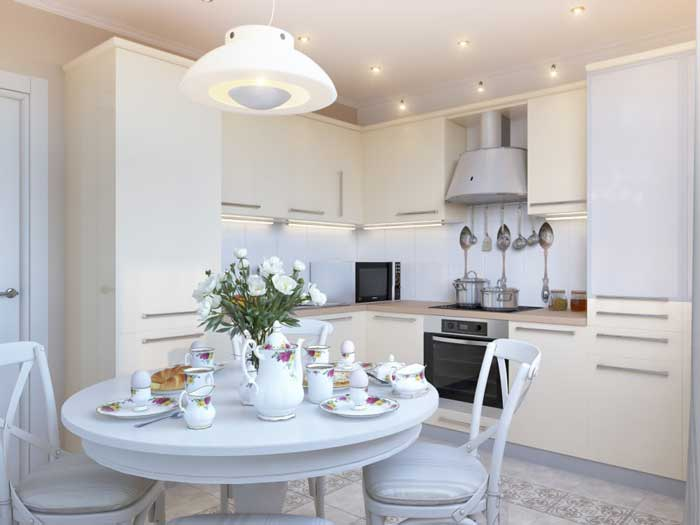 Design white kitchen 12 sq .m . with a round table .Picture 5