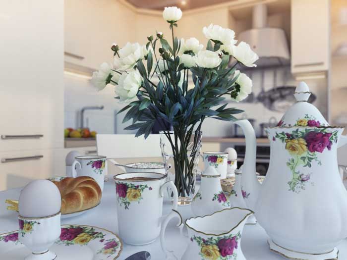 Tea-set.Design white modern kitchen 13 sq .m . 8 Photos