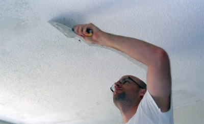 Removal of whitewash from the ceiling