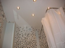 White ceiling in the bathroom