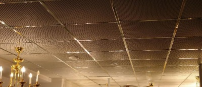 Perforated panels to the ceiling