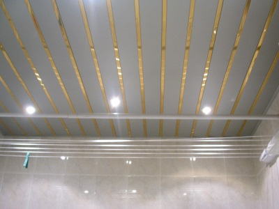 plastic ceiling panels in the bathroom