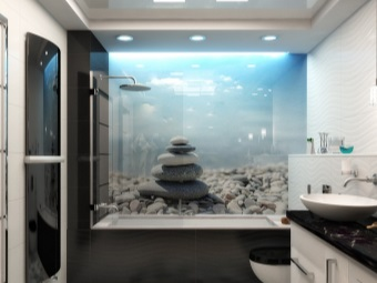 Bathroom design with photo wallpapers