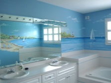 Wallpapers for the bathroom with marine issues