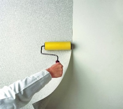 Wallpapering on the wall