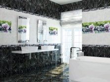 A collection of ceramic tiles Black stone