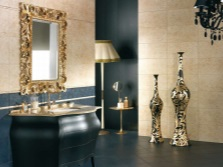 The combination of black with beige tiles