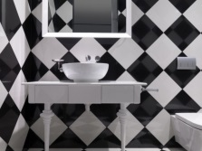 Tiles in a checkerboard pattern - black and white