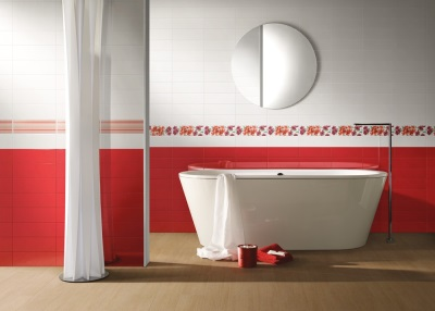 Red tiles in the bathroom design