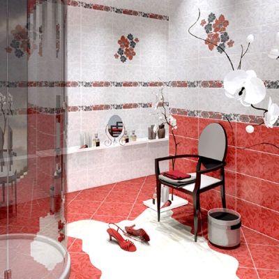 Red tiles in the bathroom
