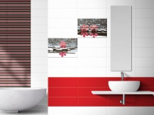 White-red- black tiles in the bathroom