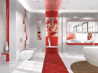 Red tiles in the small bathroom in the form of accents