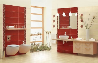 Tile Red in bath