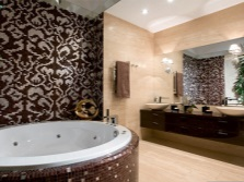 The combination of mosaic and ceramic tiles wood
