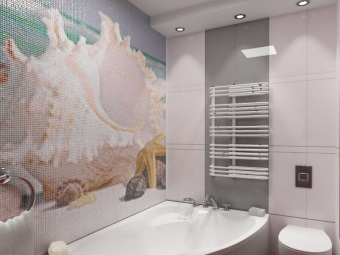 Panels made of mosaic in the bath design