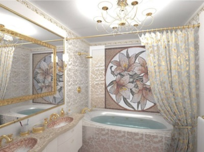 Sample tiles in the bathroom