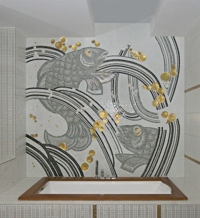 Panels of glass mosaic