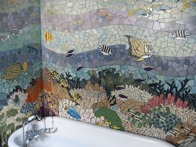 The panel in the bathroom from tile fragments
