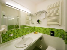 The white and green tiles in the bathroom with a horizontal ornament