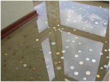 Epoxy floor with coins