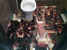 3D self-leveling floor in the toilet