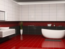 White-red- black bathroom