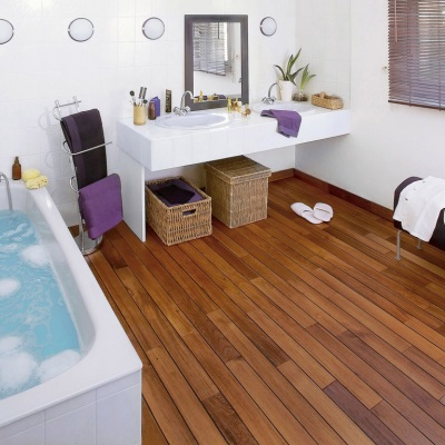 Wood flooring in the bathroom
