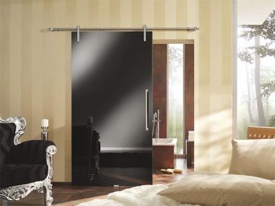 The glass sliding door to the bathroom