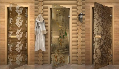 Glass doors for saunas and bathrooms