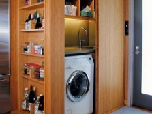 Cabinet made ​​of wood for a washing machine