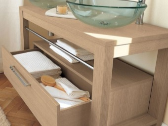 Floor cabinet wood color with glass sinks for bathrooms