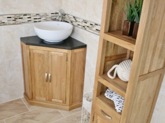 Corner floor cabinet with a sink for the bathroom