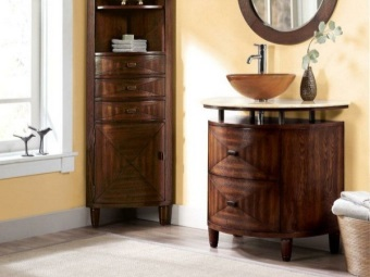 Stand with legs made ​​of natural wood with two drawers and a wooden wash basin Bathroom