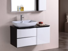 Black and white mounted cabinet 70 cm washbasin for bathroom
