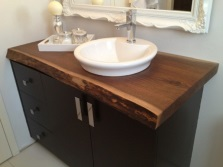 Large outdoor cabinet 120cm color wenge with sink on the countertop of natural wood bathroom