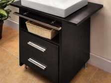 Black chrome stand on legs with sink , a shelf and two drawers for the bathroom