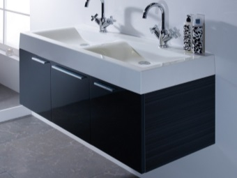 Suspended stand black with two white sinks