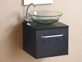 Stand mounted black 55 cm below the invoice glass washbasin
