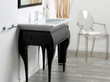 Black cabinet 65 cm in the Art Nouveau style on elegant stems with white overhead washbasin