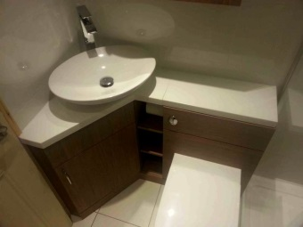 Corner floor pedestal washbasin wood for a small bathroom with toilet