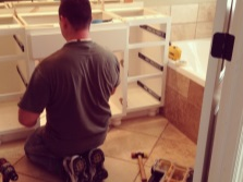 Self- assembly of cabinets with a sink in the bathroom