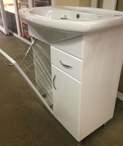 White standard size MDF cabinet with sink and laundry basket