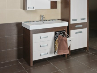Stand MDF material with coloring under a tree with white drawers and built-in laundry basket