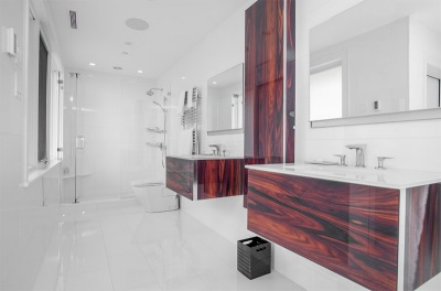 Suspended cabinets made ​​of wood with a sink for the bathroom
