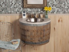Semicircular hanging cabinet in the form of a wooden barrel with a sink for the bathroom